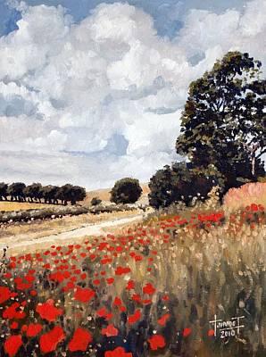 Poppies Drawing - Wild Poppies, Hertfordshire, 2010 by Cruz Jurado Traverso