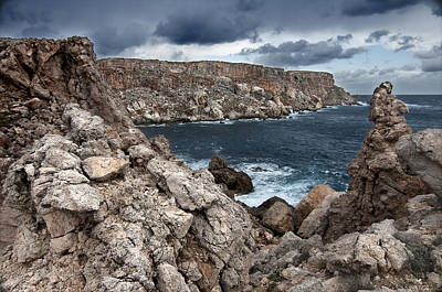 Black Photograph - Wild Rocks North Coast In Menorca Show Us An Agrest And Wild Landscape by Pedro Cardona