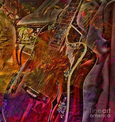 Wild Strings Digital Guitar Art By Steven Langston Print by Steven Lebron Langston