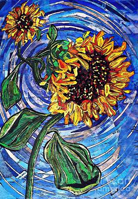 Abstract Collage Mixed Media - Wild Sunflowers by Sarah Loft