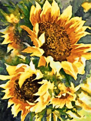 Large Mixed Media - Wild Sunflowers by Georgiana Romanovna
