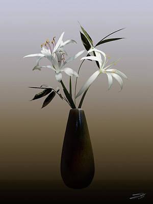 Florida Flowers Digital Art - Wild Swamp Lily In Vase by Schwartz