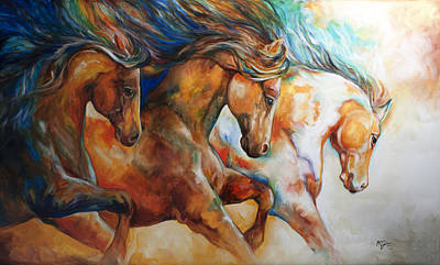 Mustang Painting - Wild Trio Run by Marcia Baldwin