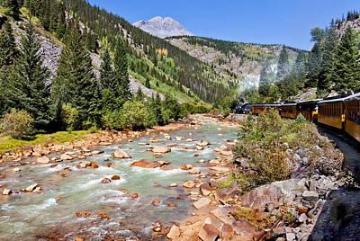 Wild West Train Ride Along The Animas River From Durango To Silverton Colorado Print by Karen Stephenson