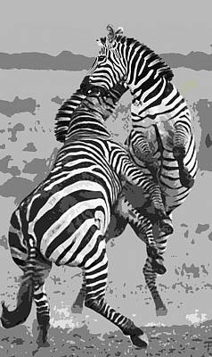 Zebra Digital Art - Wild Zebras by Daniel Hagerman