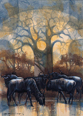 Baobab Painting - Wildebeest Northen Kruger by Charl Bruwer