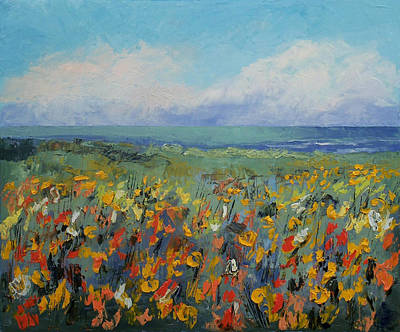 Abstract Seascape Painting - Wildflower Seascape by Michael Creese