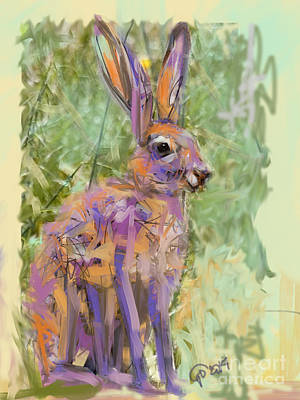 Hare Painting - Wildlife Haas by Go Van Kampen