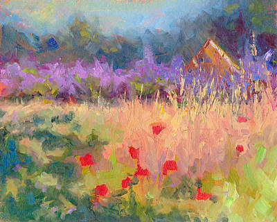 Plain Air Painting - Wildrain Retreat - Lavender And Poppies by Talya Johnson