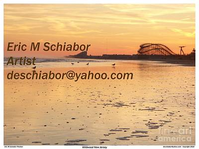 Seaside Heights Digital Art - Wildwood Golden Sunset by Eric  Schiabor
