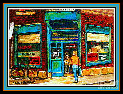 Montreal Cityscapes Painting - Wilenskys Art Famous Blue Door Posters Prints Cards Originals Commission Montreal Painting Cspandau  by Carole Spandau