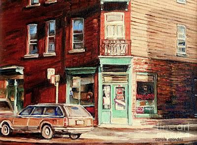 Jewish Montreal Painting - Wilensky's Corner Diner Montreal Vintage City Scenes by Carole Spandau