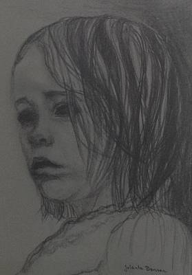 Sad Girl Drawing Drawing - Will It Stop Raining? by Jolanta Benson