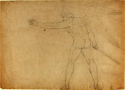 1757-1827 Drawing - William Blake British, 1757 - 1827, A Warring Angel Recto by Quint Lox