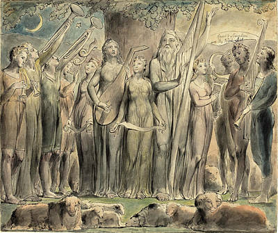 1757-1827 Drawing - William Blake British, 1757 - 1827, Job And His Family by Quint Lox