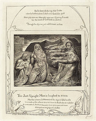 1757-1827 Drawing - William Blake British, 1757 - 1827, Job Rebuked by Quint Lox
