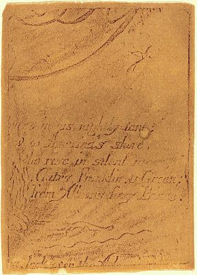 1757-1827 Drawing - William Blake, British 1757-1827, Restrike From Fragment by Litz Collection