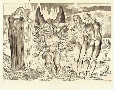 1757-1827 Drawing - William Blake, British 1757-1827, The Circle Of The Thieves by Litz Collection