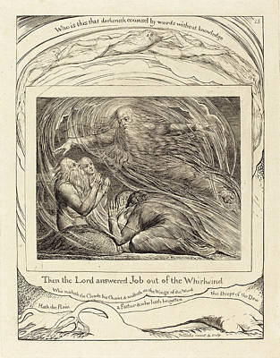 1757-1827 Drawing - William Blake British, 1757 - 1827, The Lord Answering Job by Quint Lox