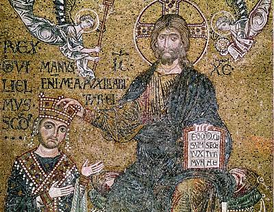 William II 1154-89 King Of Sicily Receiving A Crown From Christ Mosaic Print by Byzantine School