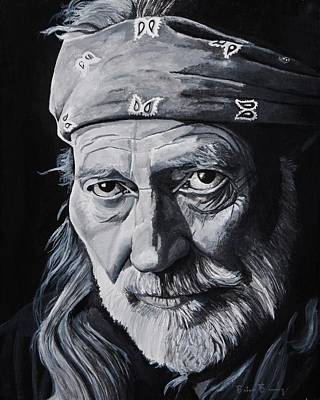 Singer Songwriter Painting - Willie  by Brian Broadway