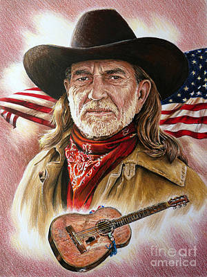 Stripe Drawing - Willie Nelson American Legend by Andrew Read