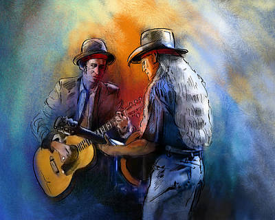 Keith Richards Mixed Media - Willie Nelson And Keith Richards by Miki De Goodaboom