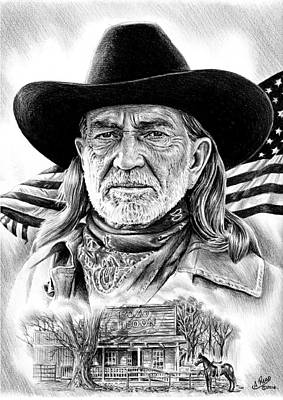 Country And Western Drawing - Willie Nelson by Andrew Read
