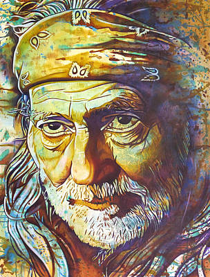 Willie Nelson-funny How Time Slips Away Print by Joshua Morton