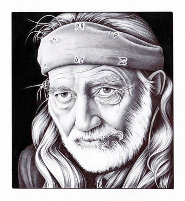 Singer Drawing - Willie Nelson by Jamie Warkentin