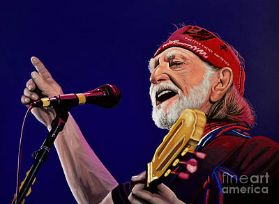 Nashville Painting - Willie Nelson by Paul Meijering