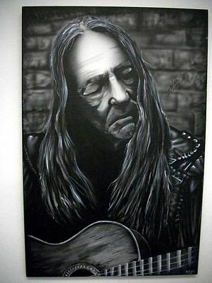 Willie Nelson Signed Canvas Piece Original by Usman Khan