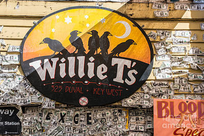Willie T's Bar And Dollar Bills Key West  Print by Ian Monk