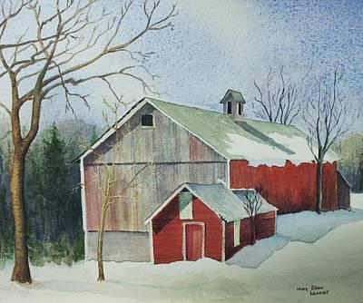 New England Snow Scene Painting - Williston Barn by Mary Ellen  Mueller Legault