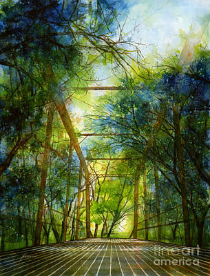 Leafy Painting - Willow Springs Road Bridge by Hailey E Herrera