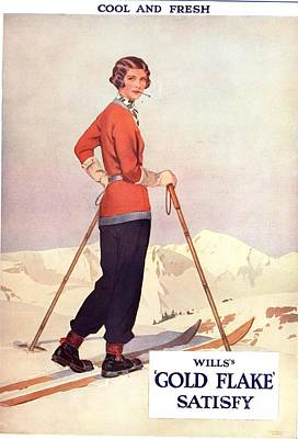 Nineteen-thirties Drawing - Will�s 1930s Usa Gold Flake Skiing by The Advertising Archives