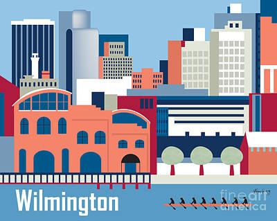 Framed Art Digital Art - Wilmington Delaware Skyline by Karen Young
