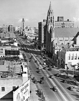 Wilshire Boulevard In La Print by Underwood Archives