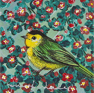 Wilson's Warbler Mini Original by Jennifer Lake