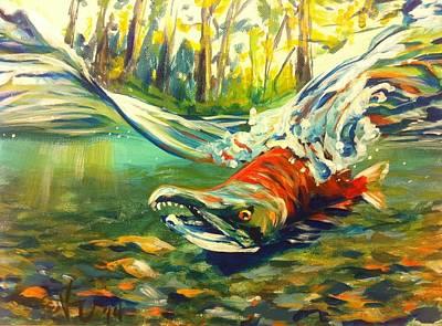 Salmon Painting - Wompy Chompy by Kristi Sandberg
