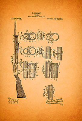 Action Drawing - Winchester Pump Action Shotgun Patent 1913 by Mountain Dreams