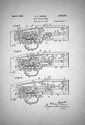 Action Drawing - Winchester Slide Action Firearm Patent 1933 by Mountain Dreams
