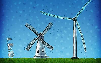 Abstract Windmill Drawing - Wind Blows by Gianfranco Weiss