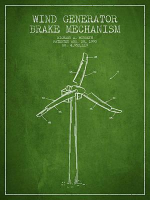 Wind Generator Break Mechanism Patent From 1990 - Green Print by Aged Pixel