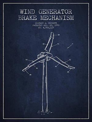 Wind Generator Break Mechanism Patent From 1990 - Navy Blue Print by Aged Pixel