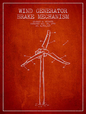 Wind Generator Break Mechanism Patent From 1990 - Red Print by Aged Pixel