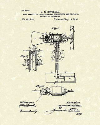 Electricity Drawing - Wind Mill 1891 Patent Art by Prior Art Design