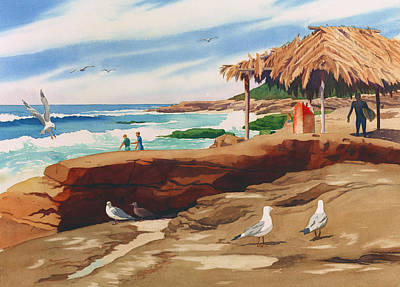 Huts Painting - Wind 'n Sea Beach La Jolla California by Mary Helmreich