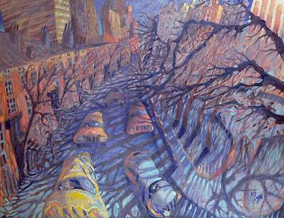 Winter Street Photograph - Wind On Washington Square, New York City, 1988 Oil On Canvas by Charlotte Johnson Wahl