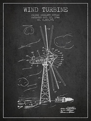 Mills Digital Art - Wind Turbine Patent From 1944 - Dark by Aged Pixel
